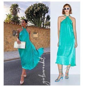 Zara teal/turquoise satin effect halter dress
